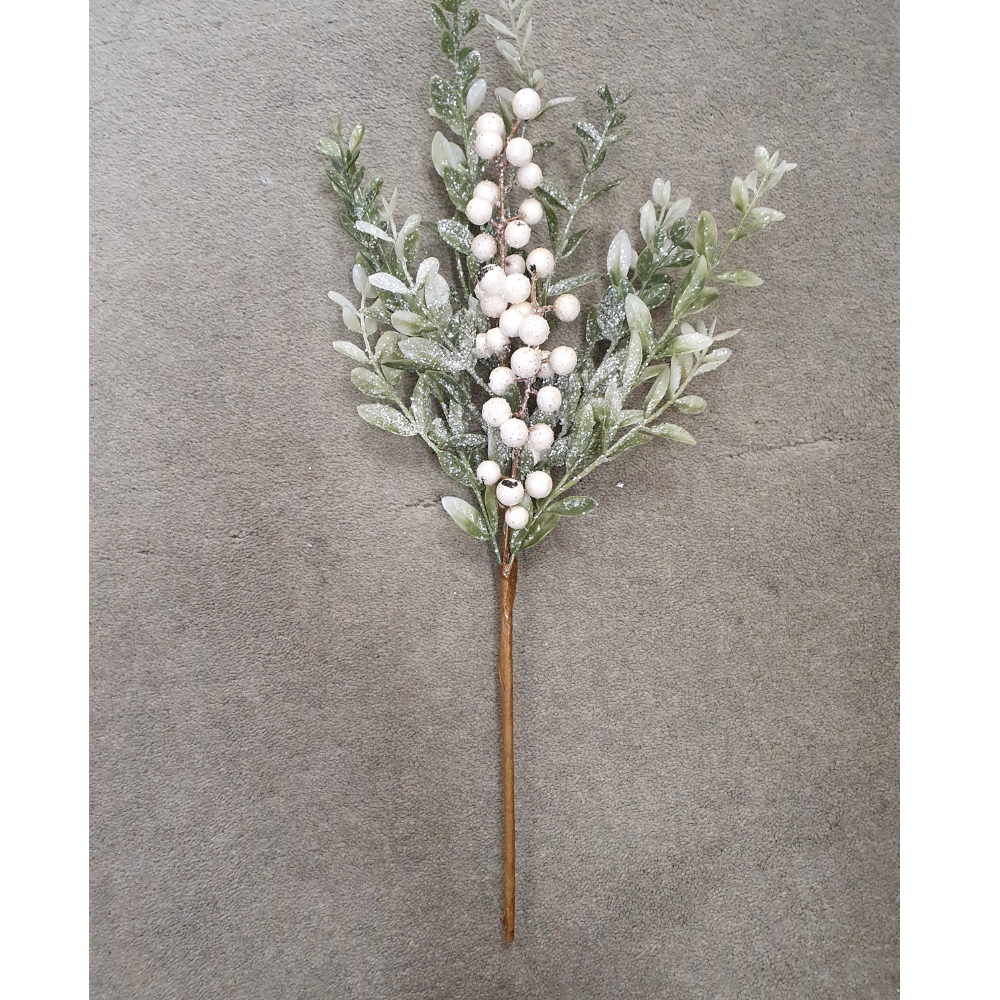 Sparkle White Berry Pick 47cm