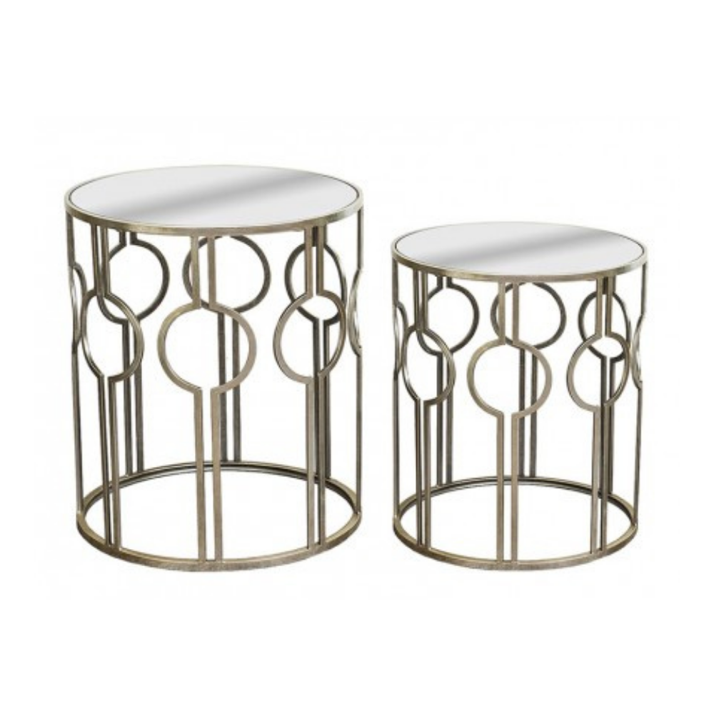 Mirrored Silver Tables, Set of 2