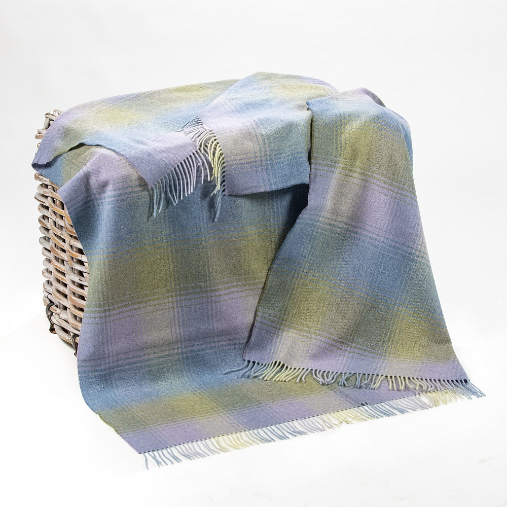 Lambswool Throw Blue Green Lilac Herringbone Check