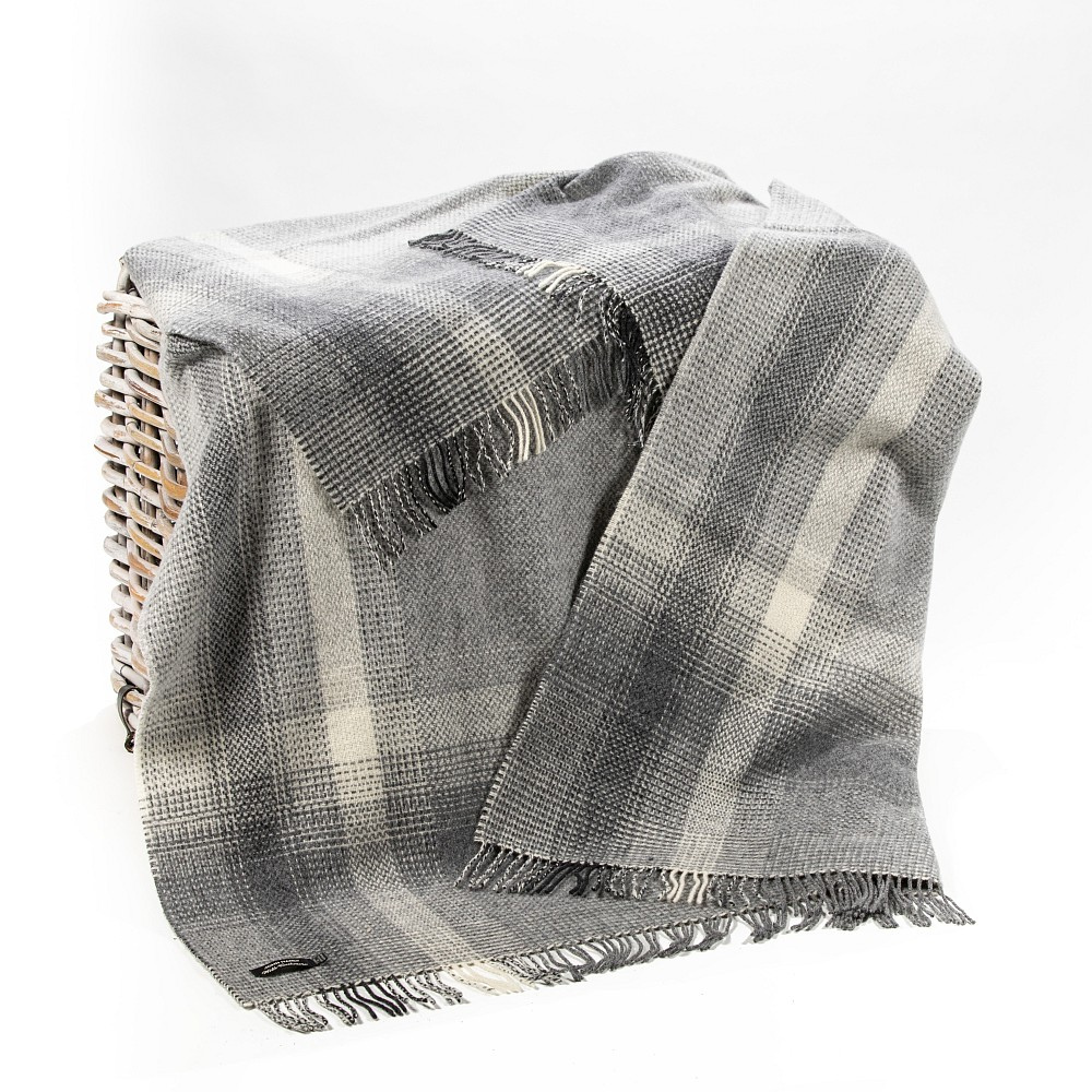 Cashmere Throw Grey Silver Border Check