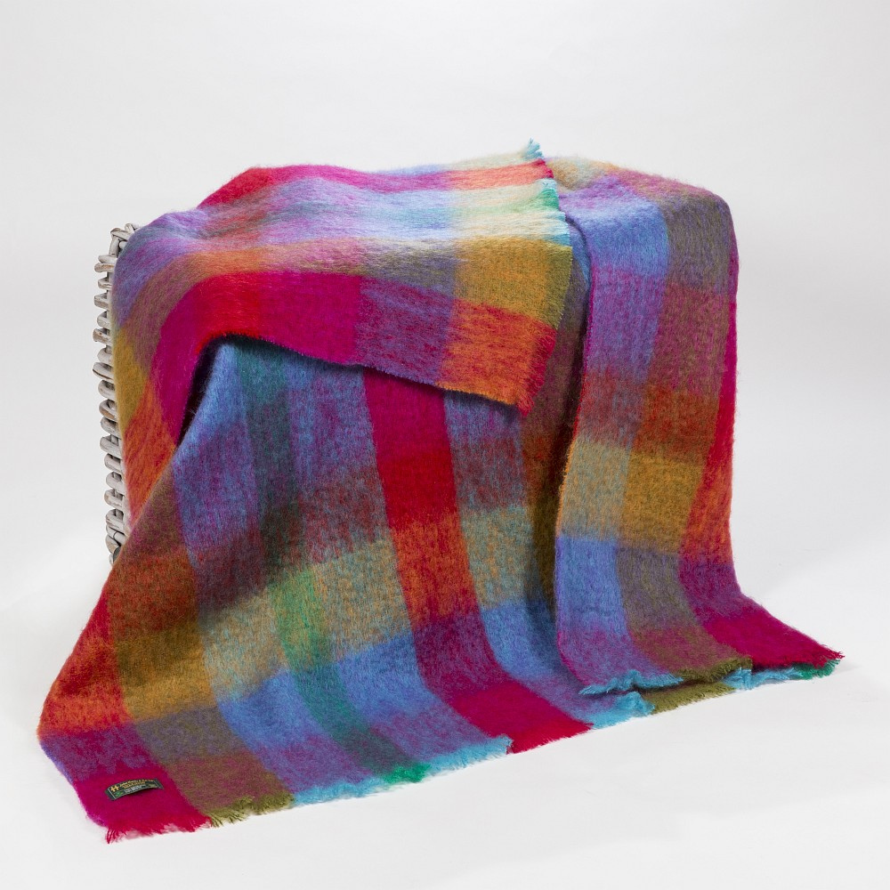 Mohair Throw Bright Pink Mustard Purple & Aqua Block Check