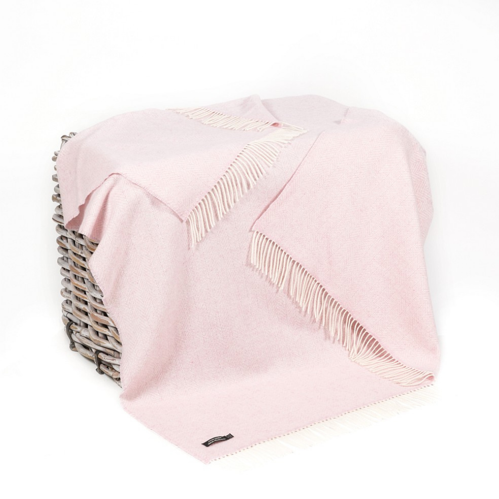 Cashmere Throw Baby Pink Herringbone