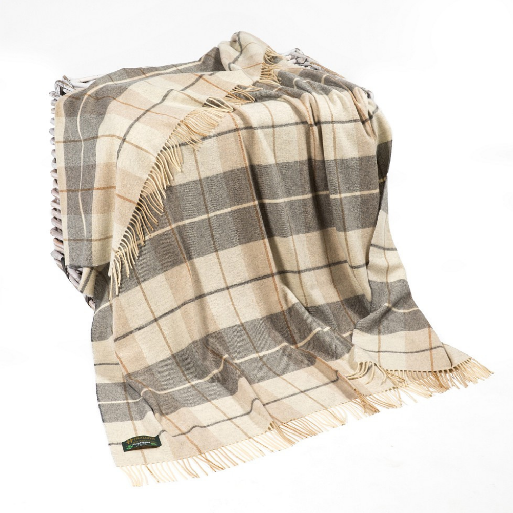 Lambswool Throw Cream and Brown Tartan Mix