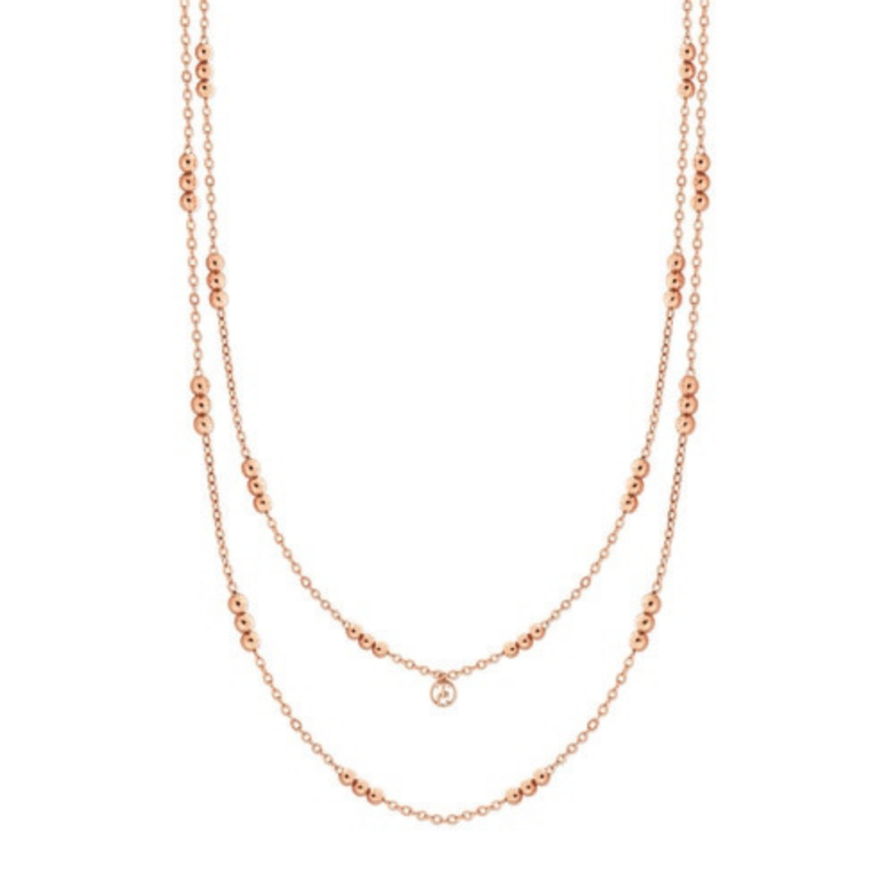 Skandi Triple Bead Rose Gold Long Necklace
