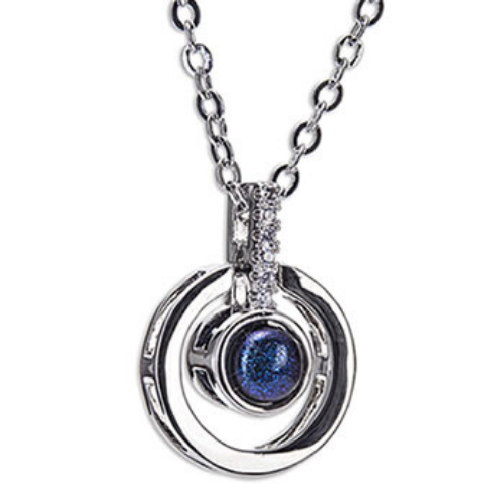 Silver Diamantie Blue Stone Necklace