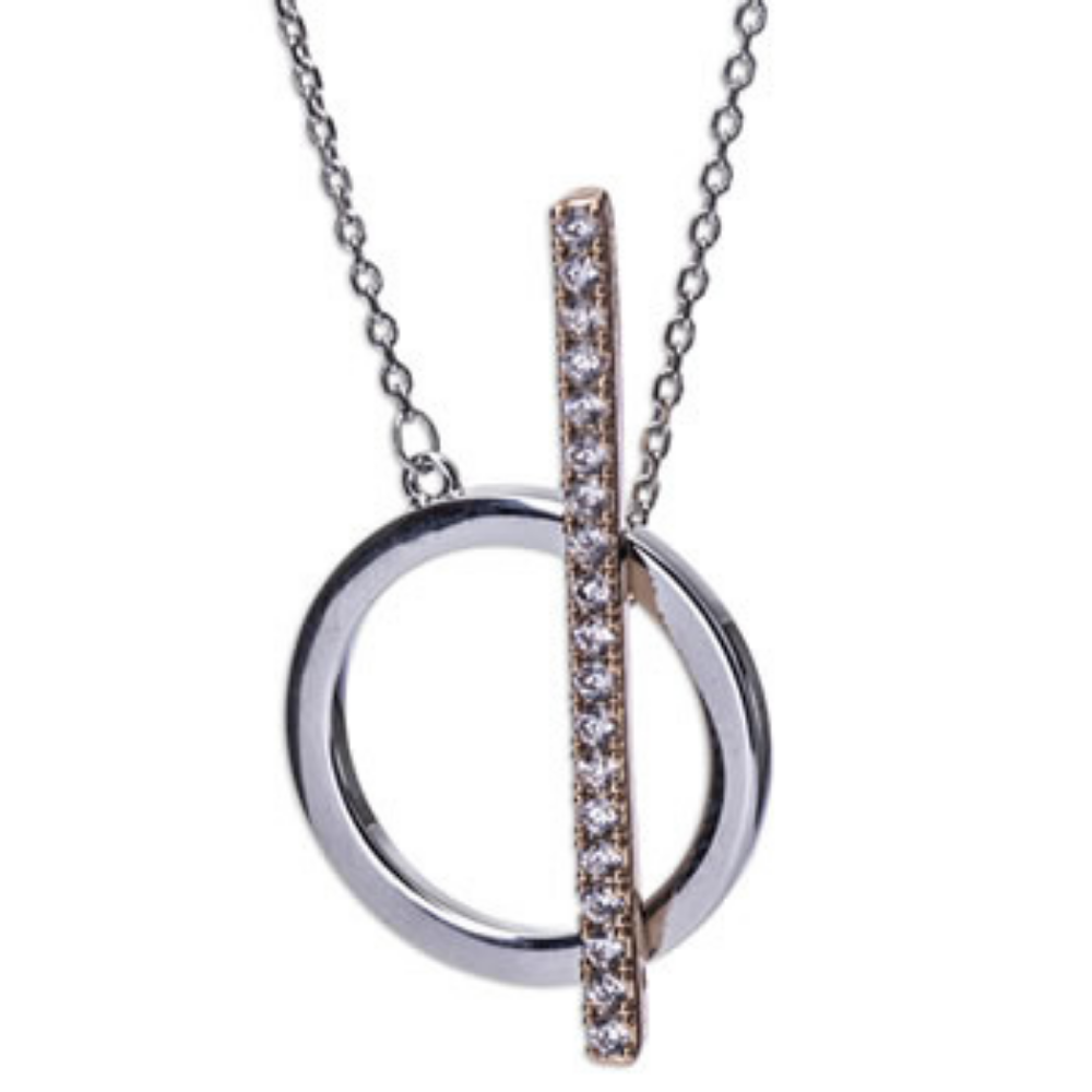 Silver & Rosegold T-Bar Necklace