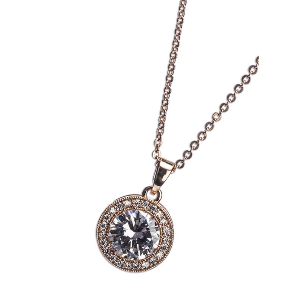 Rose Gold White Stone & Diamante Pendant