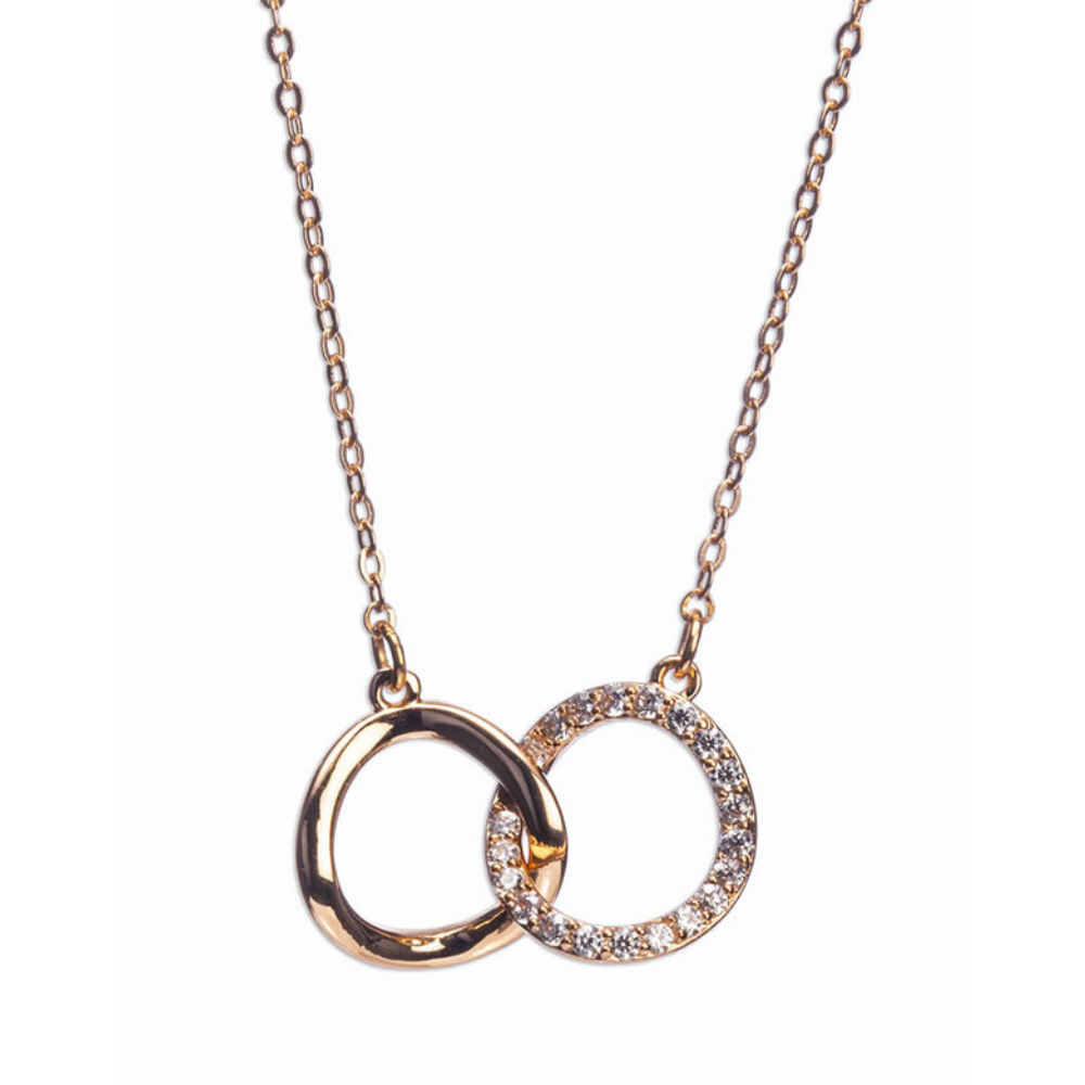 Rose Gold Interlocking Diamante Rings Necklace