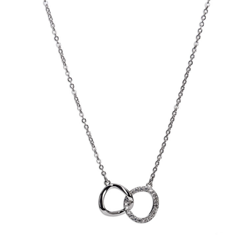 Silver Interlocking Diamante Rings Necklace