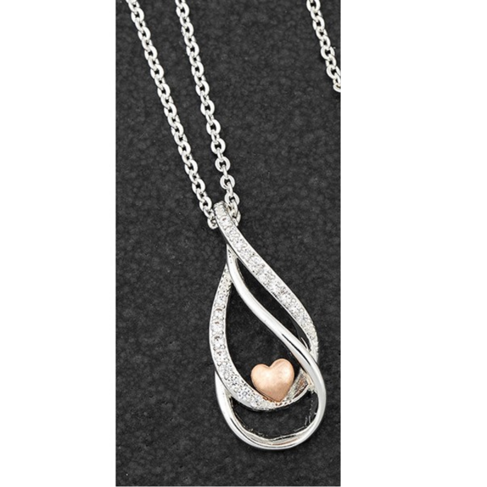 Polished Two Toned Heart Necklace