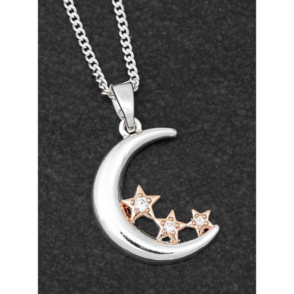 Poilished Two Tone Moon & Stars Necklace