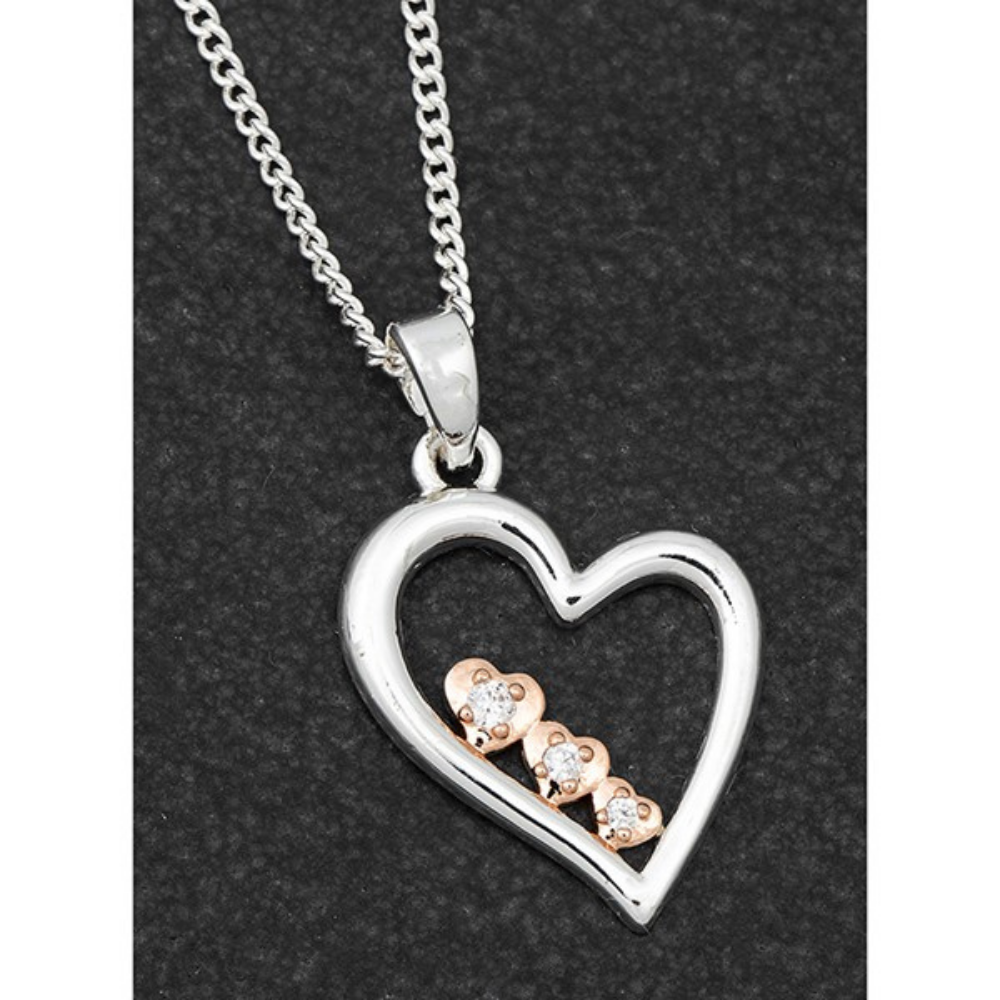 Poilished Two Tone Pretty Heart Necklace