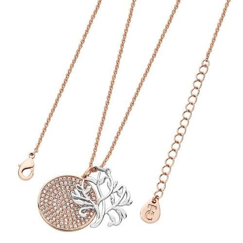 Tree of Life Round Pav Disc Rose Gold Pendant