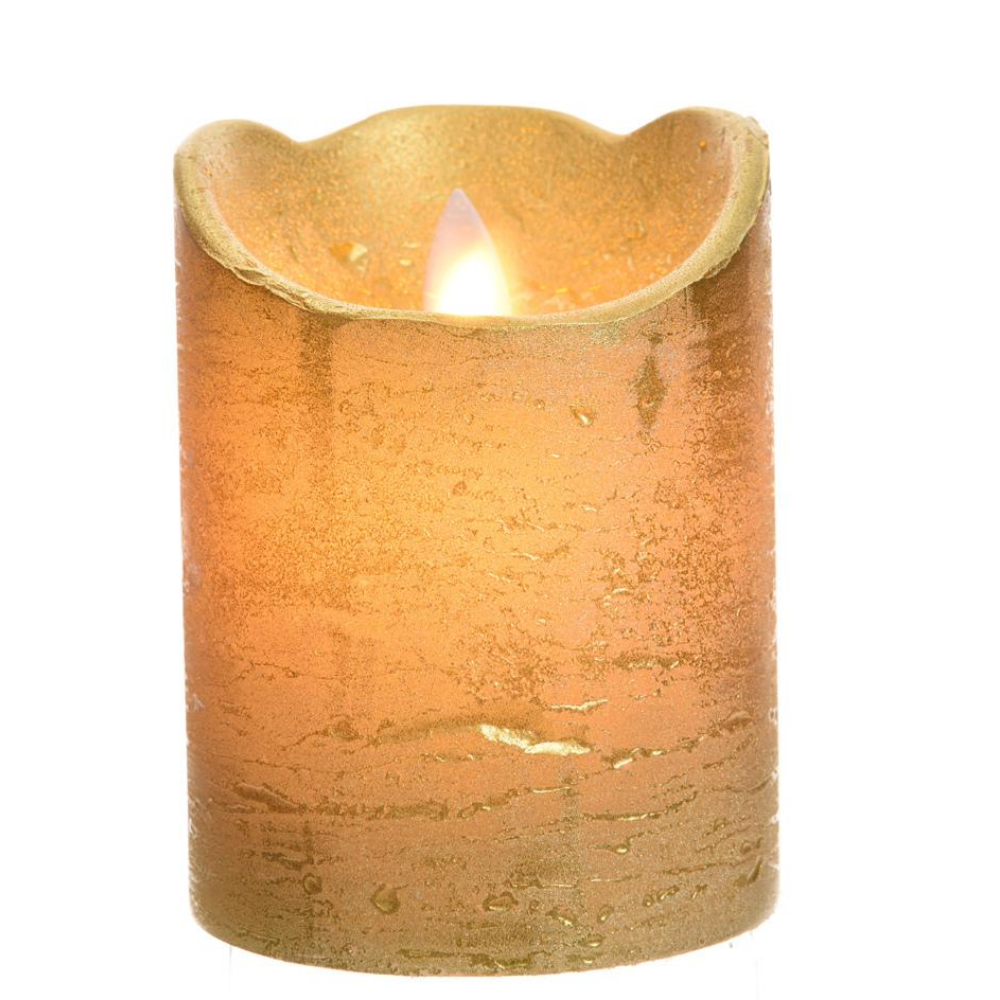 LED Wax Waving Candle 10cm, Gold