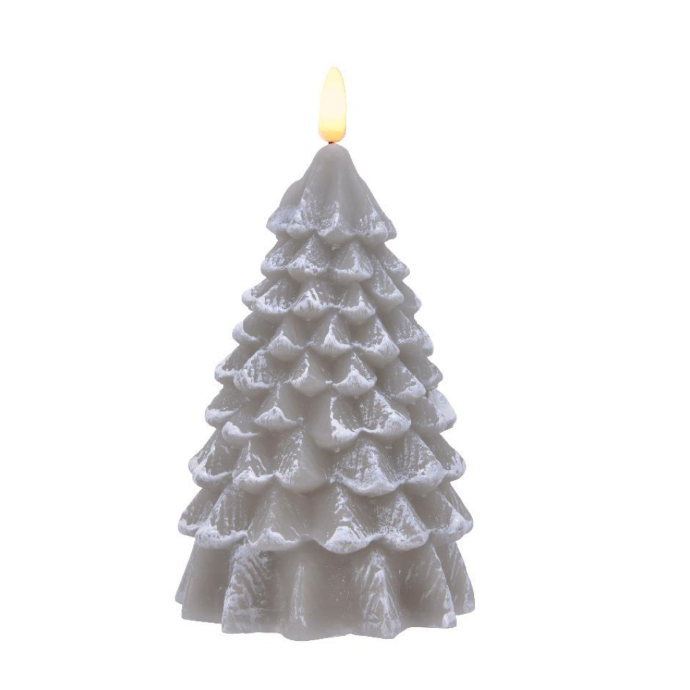 LED Wax Tree Candle 18cm, Grey