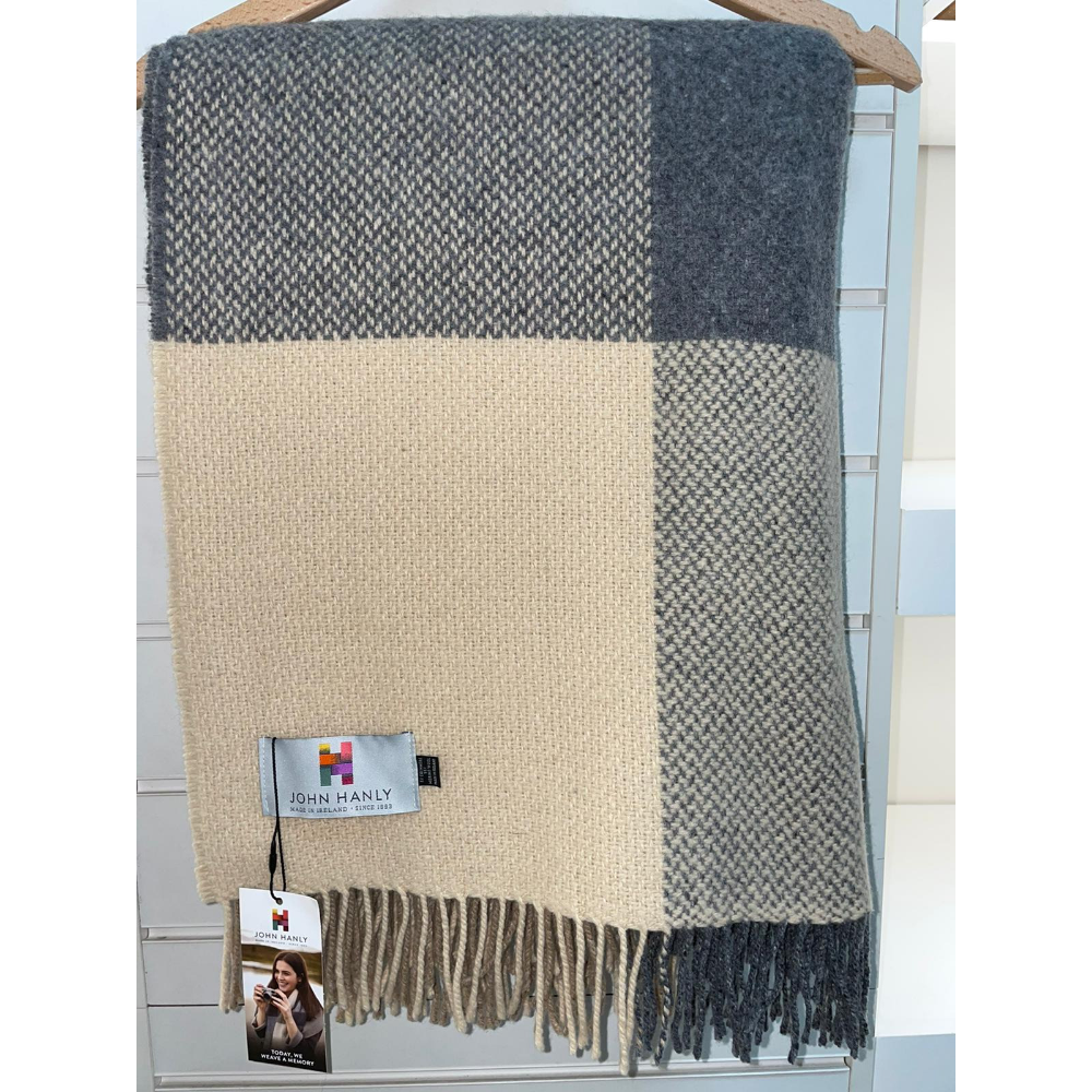 Cashmere Throw Denim & Beige