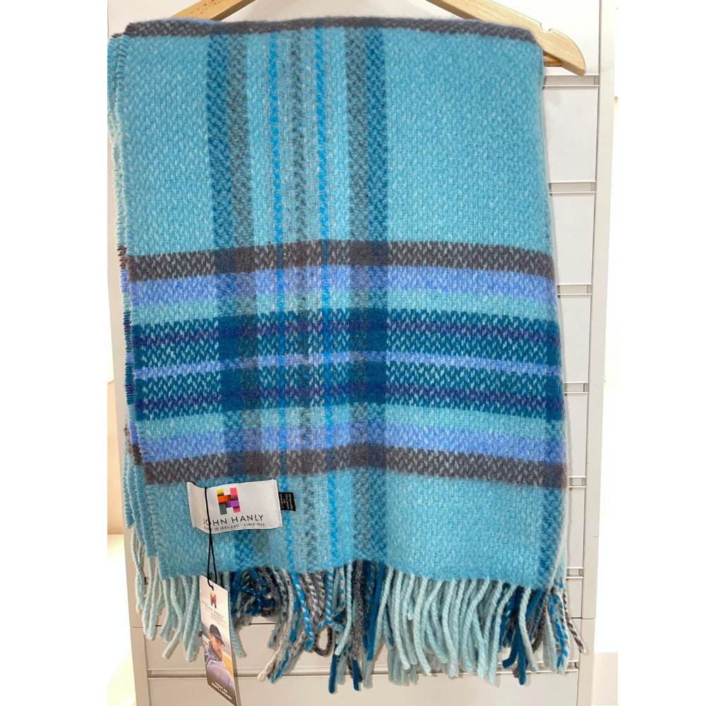 Cashmere Throw Sky Blue Check