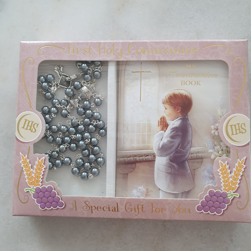 Holy Communion Rosary Beads & Communion Book, Boy
