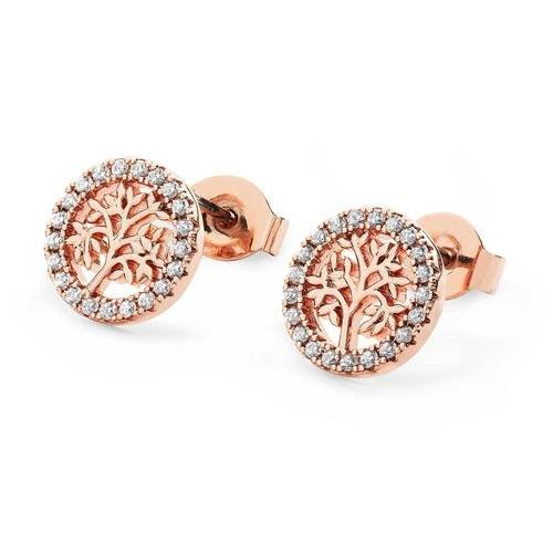 Rose Gold Tol in Czs Circle Stud Earrings