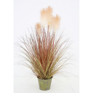 "35"" Reed Grass in Metal Pot- Brown/Orange"