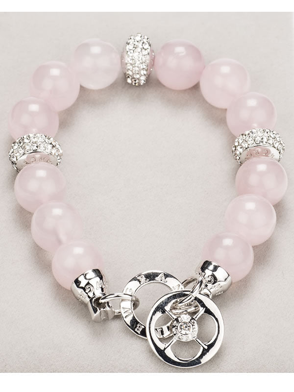 Silver Diamante & Rose Quartz Bracelet