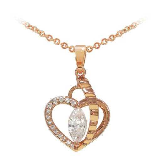 Rose Gold Heart Pendant with Marquis Cut