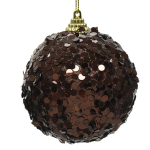 Brown Sequins Christmas Bauble