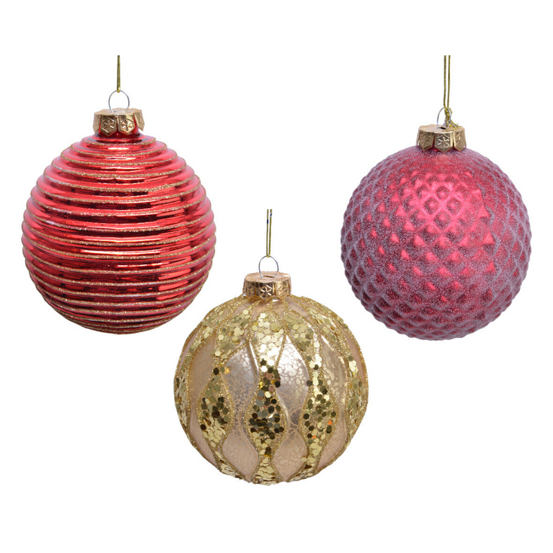 Decorative Christmas Bauble, Red/Gold