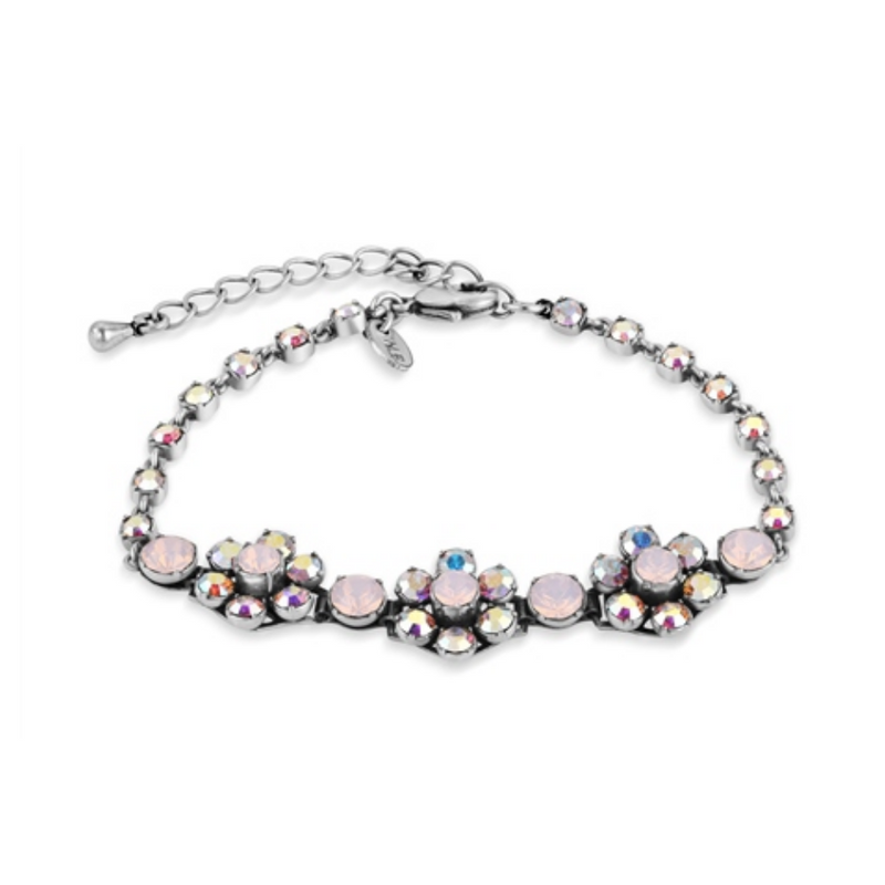 Floral Bracelet with Rose Stone Settings