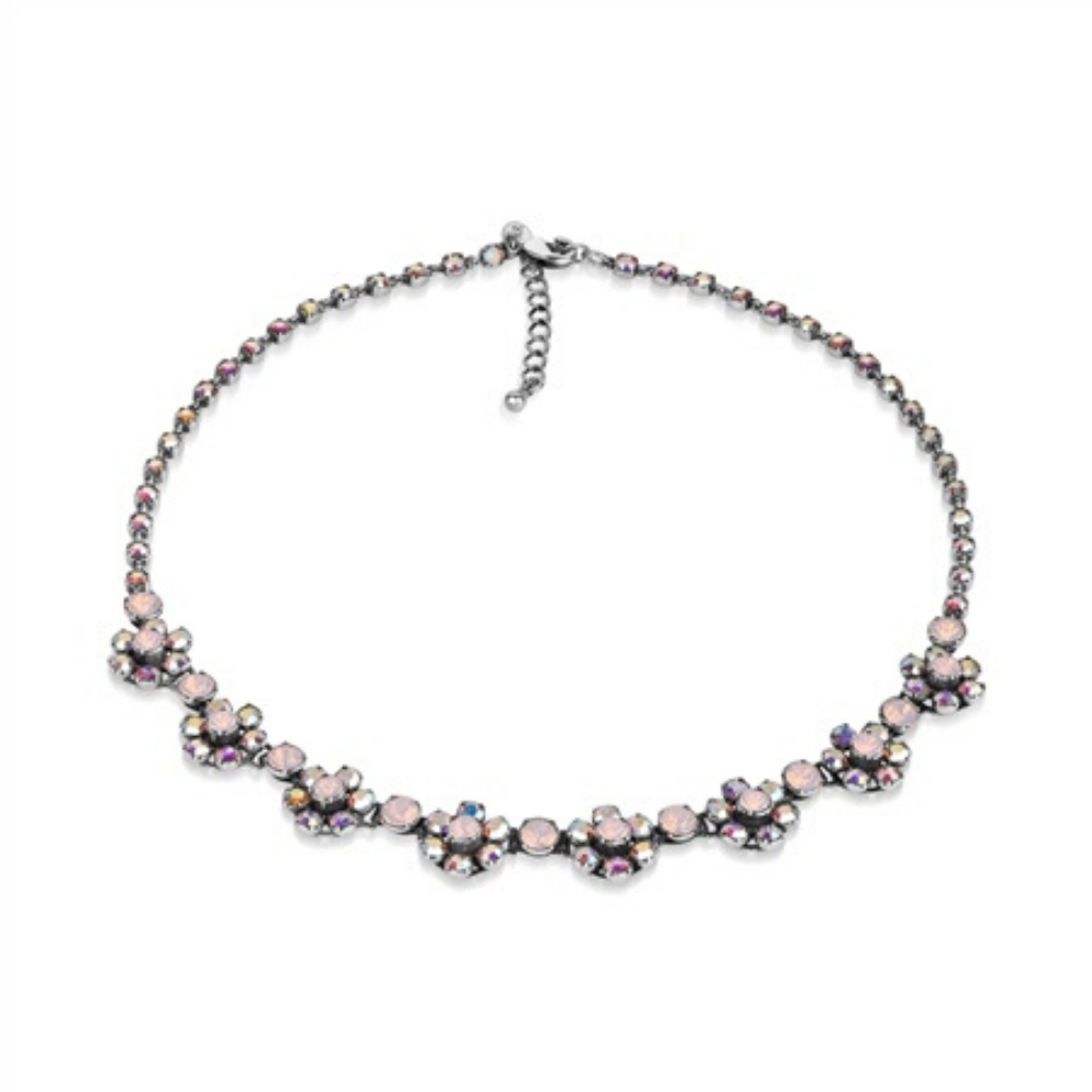 Floral Necklace with Rose Stone Settings