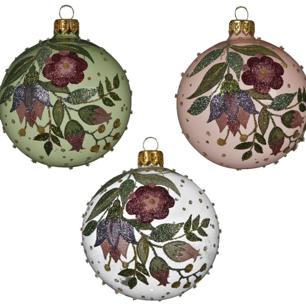 Floral Christmas Baubles