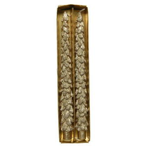 Pinecone Dinner Taper Candles, Gold