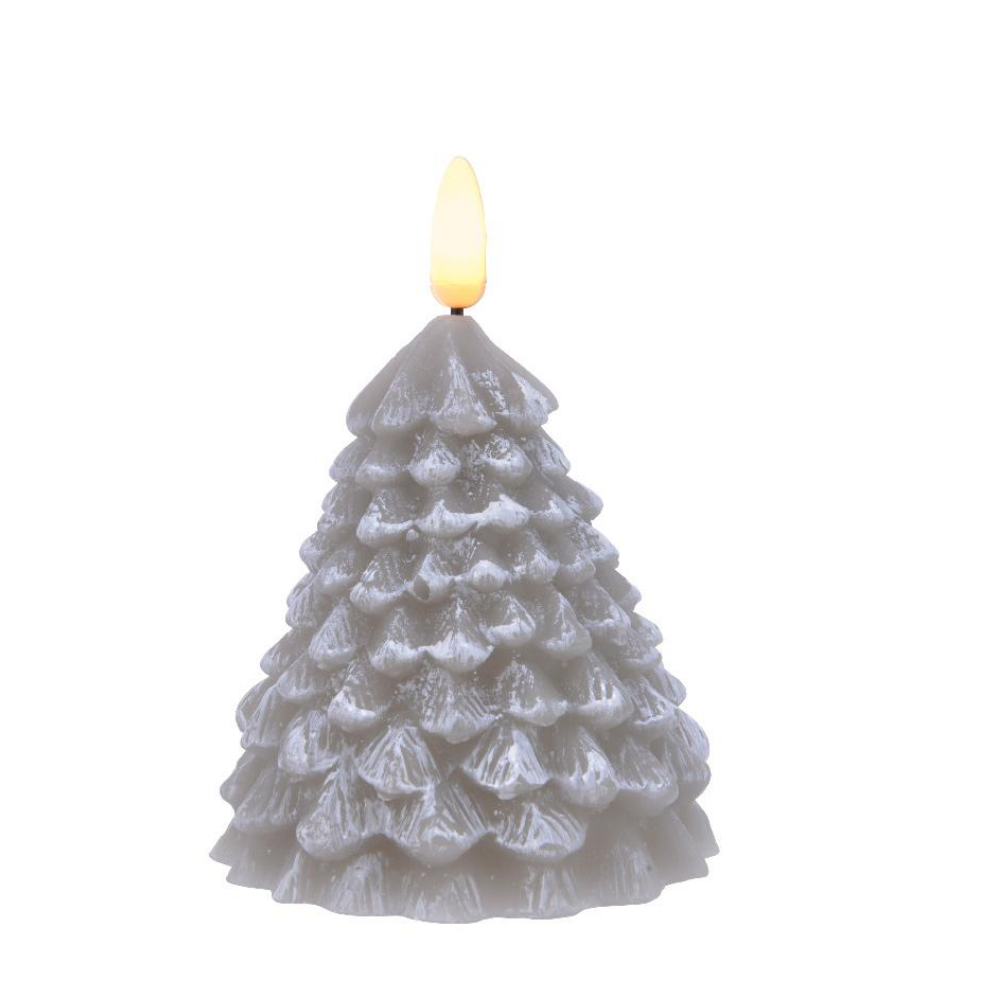 LED Wax Tree Candle 12cm, Grey