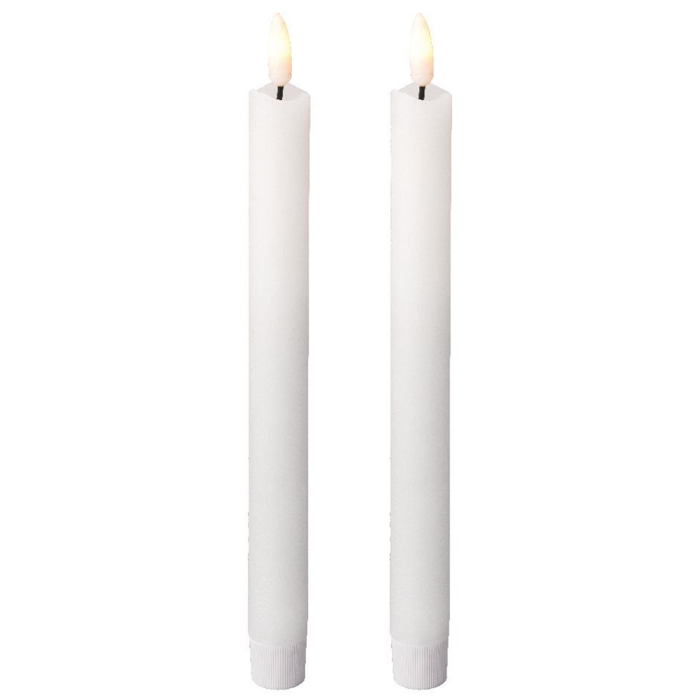White LED Wax Taper Candles 24.5cm, Pair