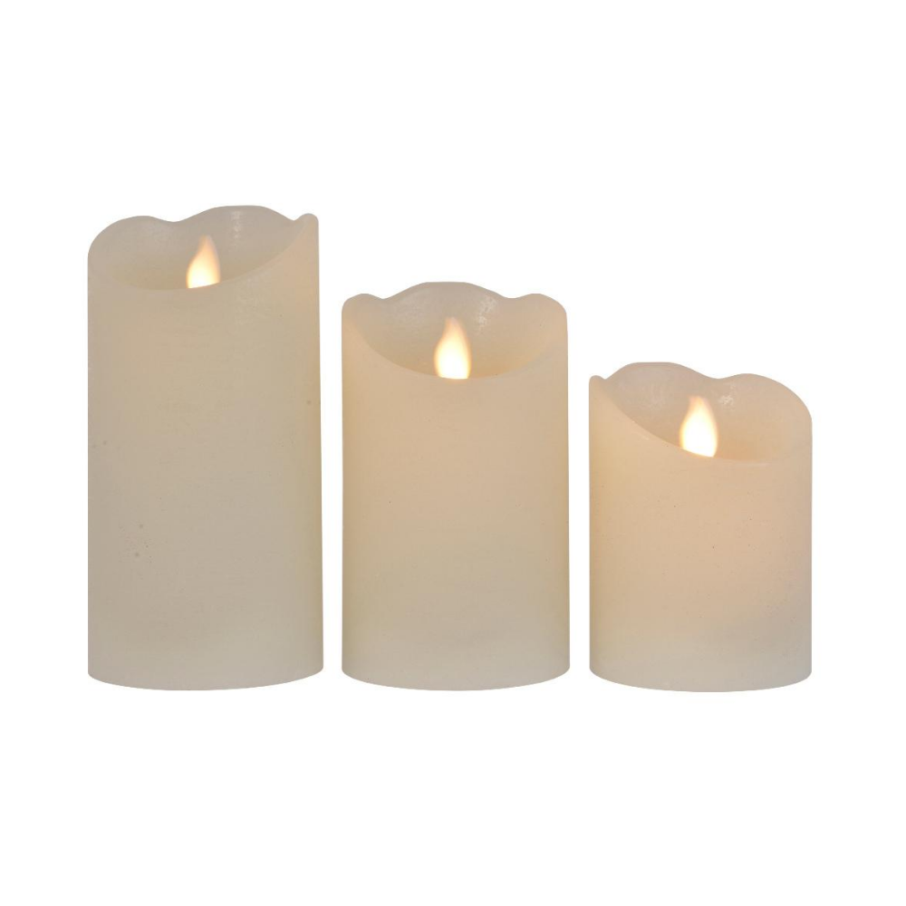 Set of 3 Wax Candles With Waving Flame