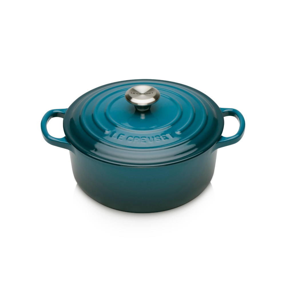 Signature Cast Iron Round Casserole 20cm, Deep Teal
