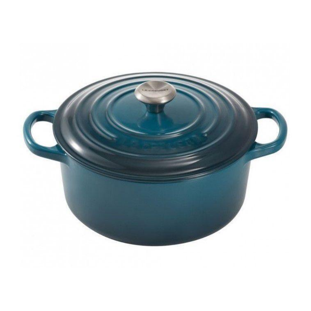Signature Cast Iron Round Casserole 24cm, Deep Teal