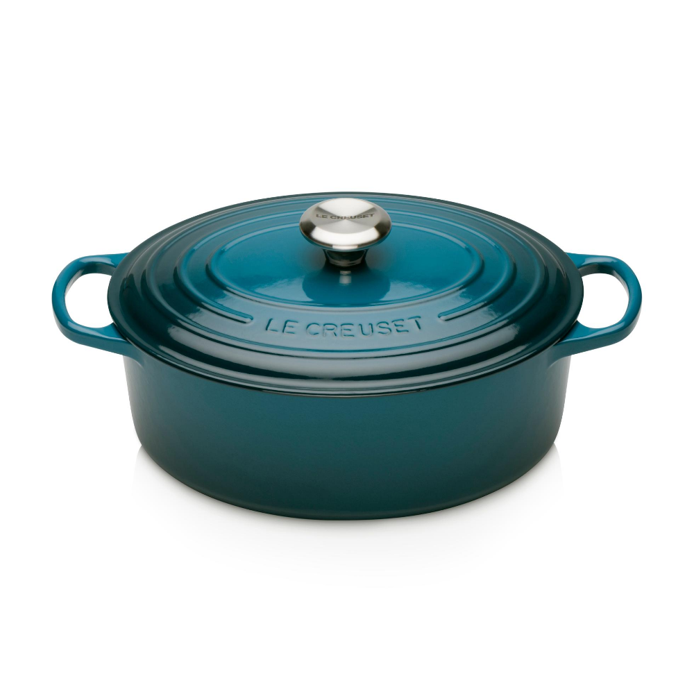 Signature Cast Iron Oval Casserole 29cm, Deep Blue