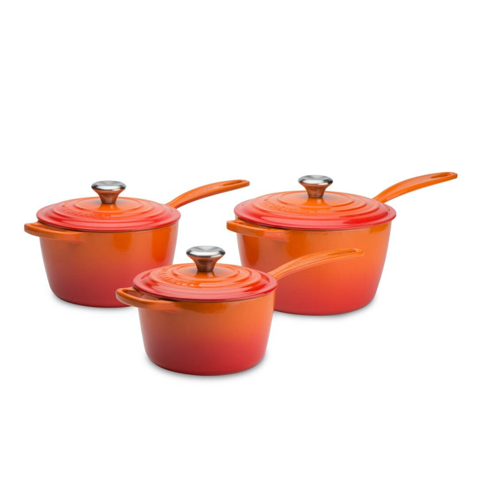 Signature Cast Iron 3 Piece Saucepan Set, Volcanic