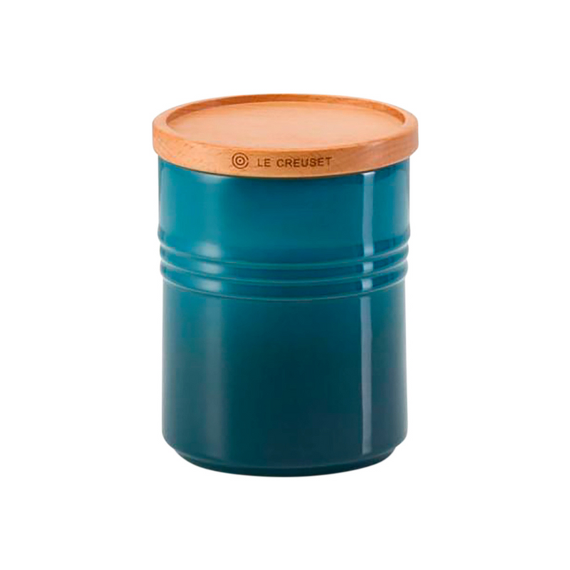 Stoneware Medium Storage Jar with Wooden Lid, Deep Teal