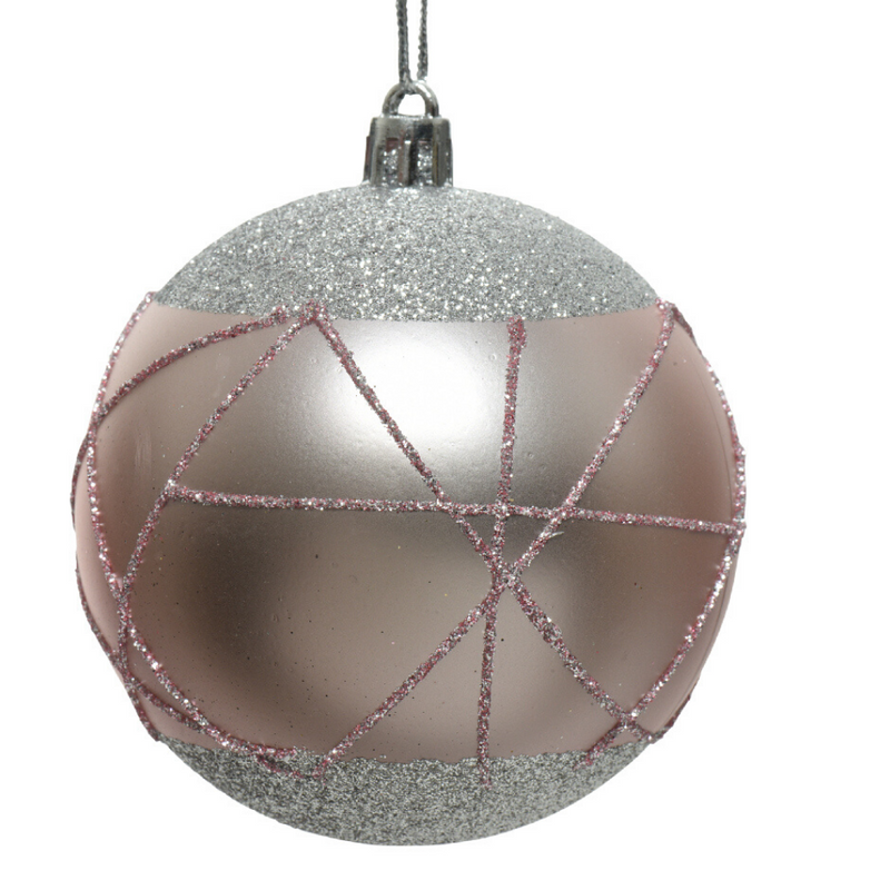 Blush Christmas Bauble With Glitter Lines