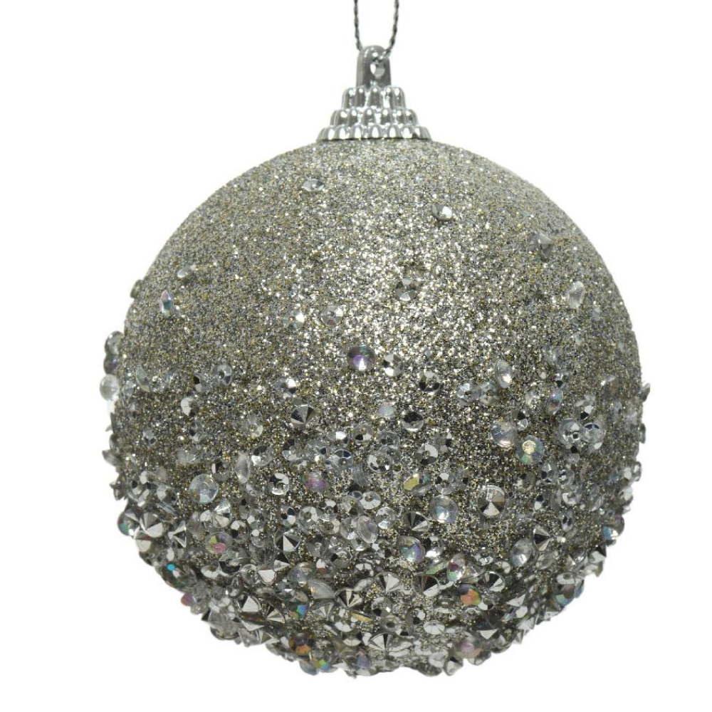 Mist Grey Beaded Bauble