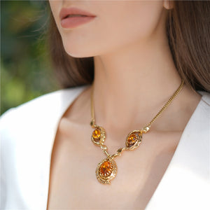 Vintage Gold Plated Necklace with Topaz Stones