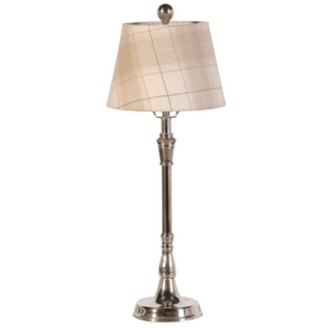 Nickel Plated Lamp with Beige Tartan Shade