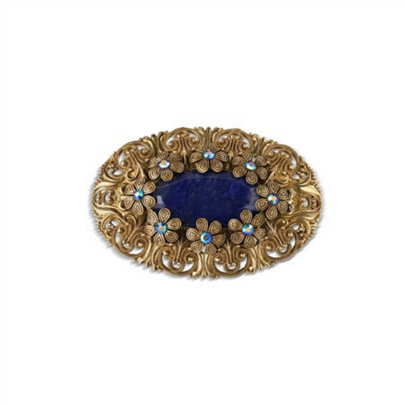 Oval Brooch with Blue stones