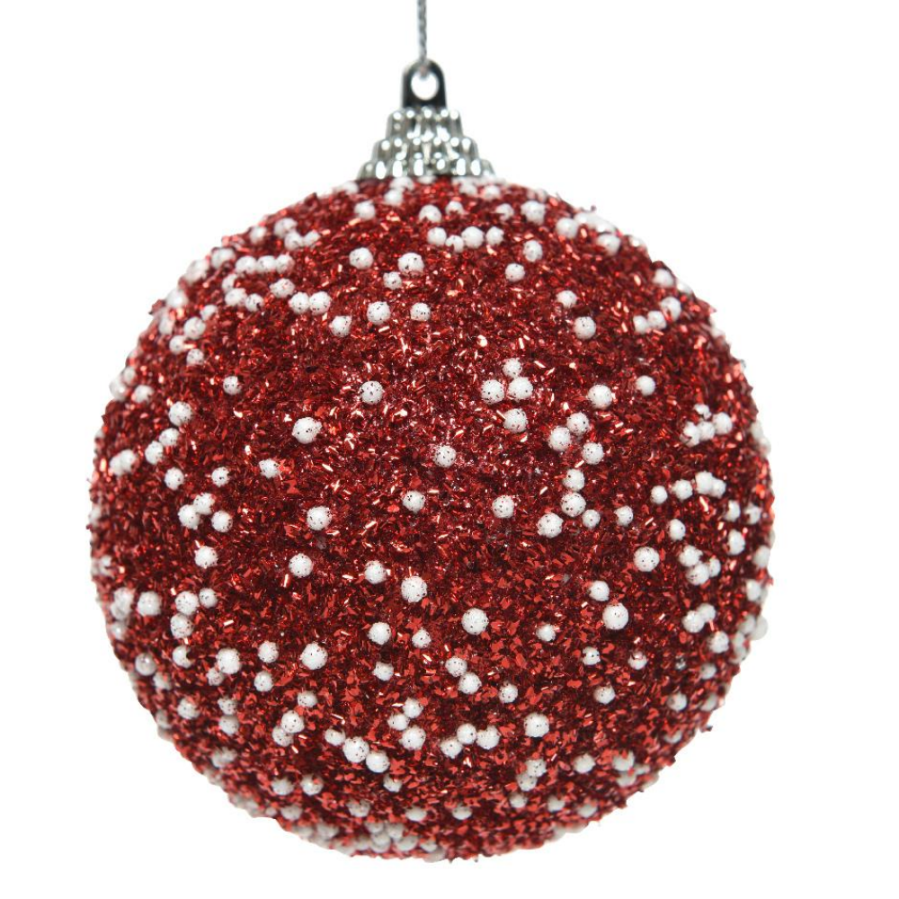 Red Glitter & Dots Christmas Bauble