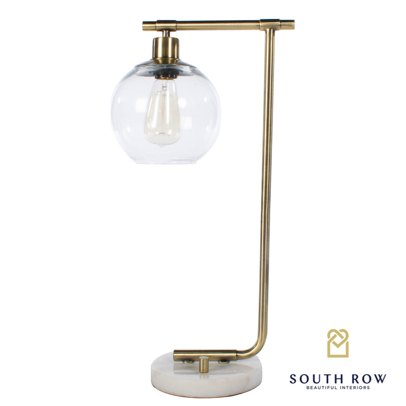 Globe Table Lamp, Marble/Gold 55cm
