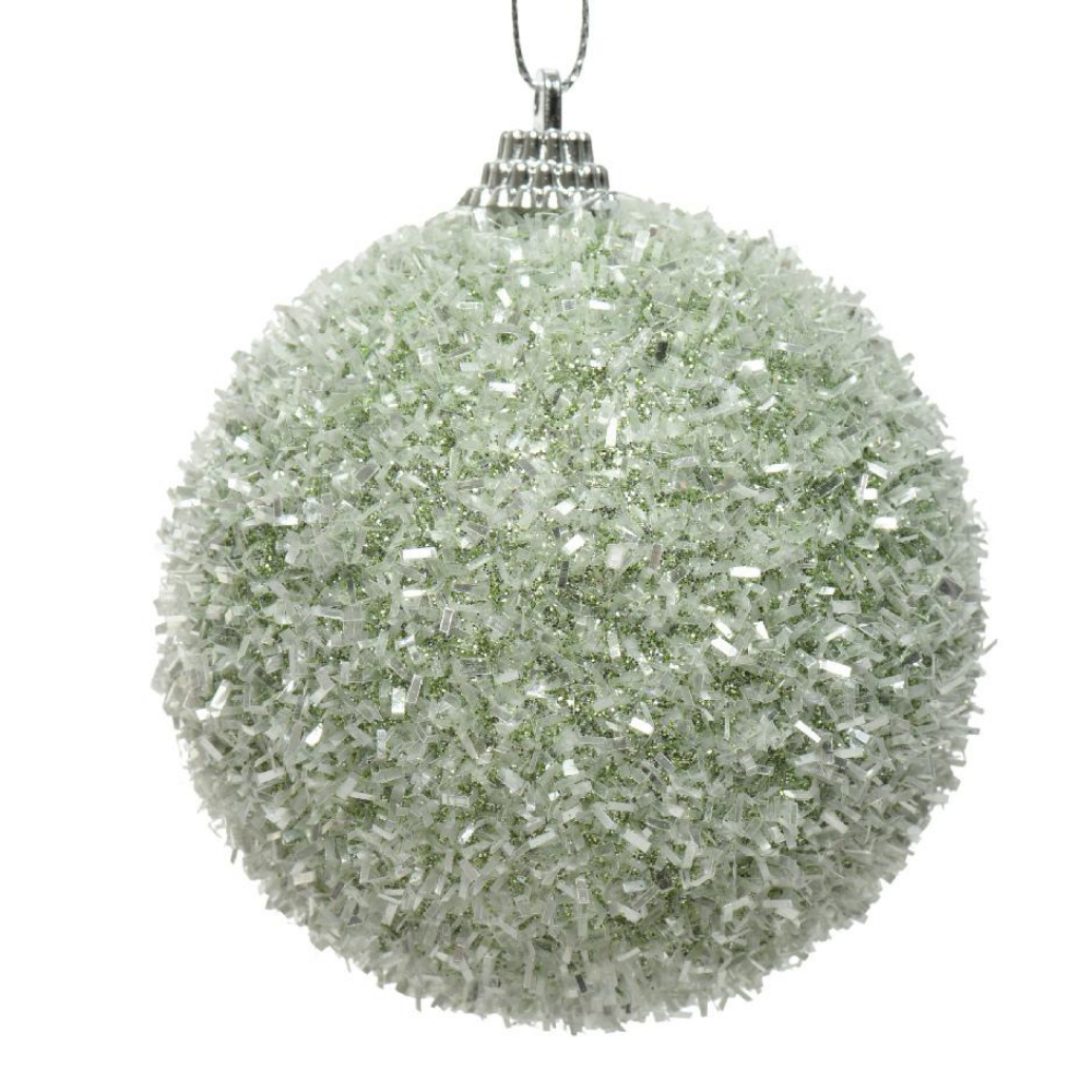 Sage Green Tinsel Christmas Baubles