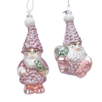Pink Santa with Pinecone Christmas Decoration