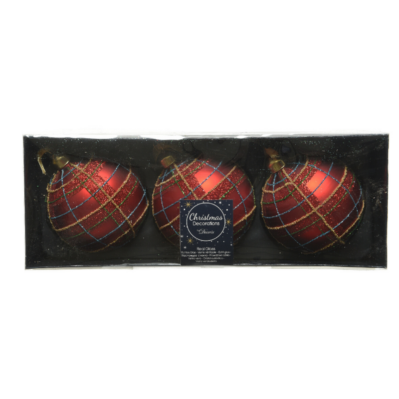 Glitter Checkered Christmas Bauble, Set of 3